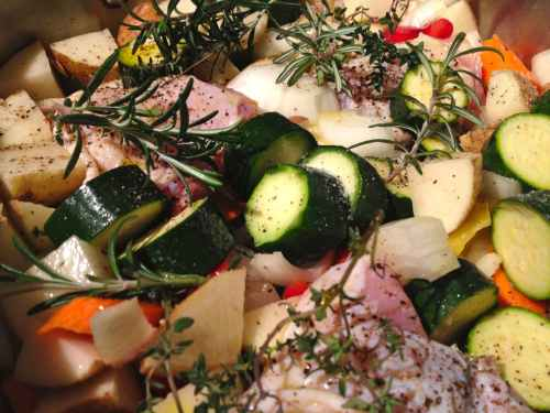 Roasted veggies with chicken