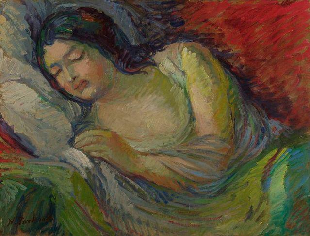 Young brunette woman sleeping by Nikolai Aleksandrovich Tarkhov